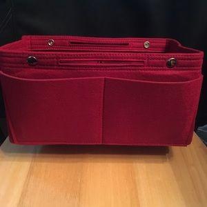 Handbags - Purse Tote L Burgundy Insert Organizer Protector